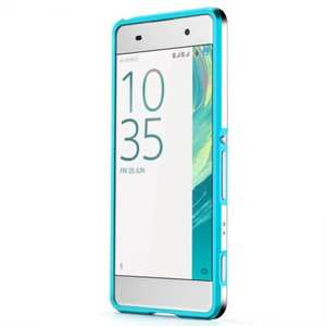 Premium Dual Color Aluminum Metal Frame Bumper Case for Sony Xperia XA - Blue