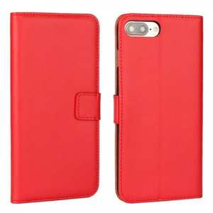 Real Genuine Leather Side Flip Wallet Case Cover for iPhone 7 4.7 inch - Red