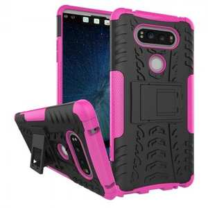 Rugged Armor Hybrid Dual Layer Kickstand Protective Case for LG V20 - Hot pink