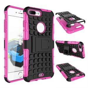 Shockproof Dual Layer Hybrid Armor Kickstand Protective Case for iPhone 7 Plus 5.5inch - Hot pink