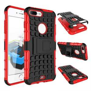 Shockproof Dual Layer Hybrid Armor Kickstand Protective Case for iPhone 7 Plus 5.5inch - Red