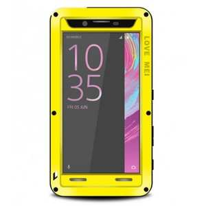 Shockproof Dust Proof Gorilla Glass Aluminum Metal Case for Sony Xperia X Performance - Yellow