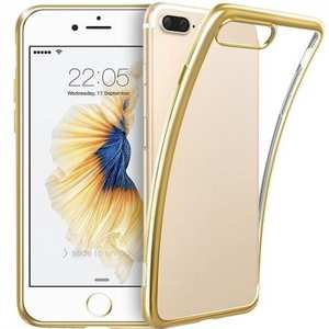 Ultra Thin Soft TPU Silicone Back Cover with Electroplate Frame Case for iPhone 7 Plus - Gold