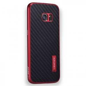 Aluminum Metal Bumper+Carbon Fiber Back Case Cover For Samsung Galaxy S7 Edge - Red&Black