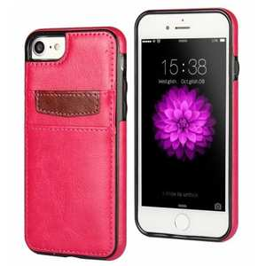 Crazy Horse Leather Card Slots TPU Back Case Cover For iPhone 7 Plus 5.5 inch - Rose
