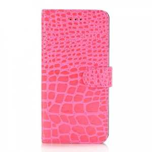 Crocodile Pattern PU Leather Stand Case with Card Slots For iPhone 7 Plus 5.5 inch - Hot Pink