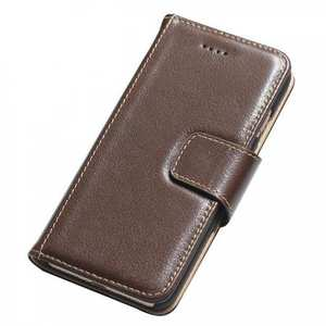 Luxury First Layer Cowhide Magnetic Flip Stand PC+Genuine Leather Case for iPhone 7 Plus 5.5 inch - Coffee