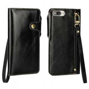 Luxury Genuine Cowhide Leather Wallet Credit Card Holder Case For iPhone 7 4.7 inch - Black