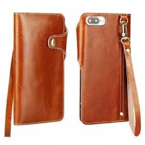 Luxury Genuine Cowhide Leather Wallet Credit Card Holder Case For iPhone 7 4.7 inch - Brown