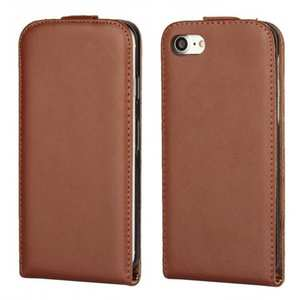 Luxury Genuine Real Leather Vertical Top Flip Case Cover for iPhone 7 4.7 inch - Brown