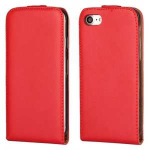 Luxury Genuine Real Leather Vertical Top Flip Case Cover for iPhone 7 4.7 inch - Red
