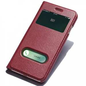 Luxury Real Genuine Leather Double Window Flip Case for iPhone 7 4.7 Inch - Red