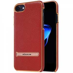 NILLKIN Leather Skin PC Kickstand Shell Mobile Phone Case for iPhone 7 4.7 inch - Red