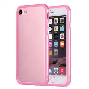 Shockproof Soft TPU Bumper Frame Protective Case For iPhone 7 Plus 5.5inch - Clear&Pink