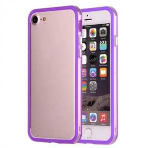 Shockproof Soft TPU Bumper Frame Protective Case For iPhone 7 Plus 5.5inch - Clear&Purple