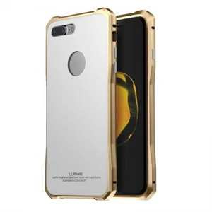 Luxury Metal Bumper Case & Gorilla Tempered Glass Back Cover For iPhone 7 Plus / 8 Plus - Gold&White