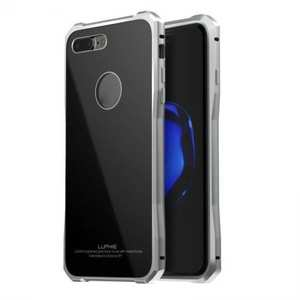 Luxury Metal Bumper Case & Gorilla Tempered Glass Back Cover For iPhone 7 Plus / 8 Plus - Silver&Black