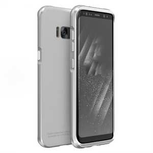 Aluminium Frame+Tempered Glass Back Cover Case for Samsung Galaxy S8 + Plus - Silver&White
