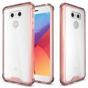 TPU Bumper with Clear Hard Acrylic Backplate Hybrid Phone Case For LG G6 / G6 Plus - Rose gold
