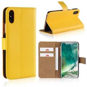 Genuine Leather Flip Wallet Case Cover Card Holder For iPhone X - Yellow