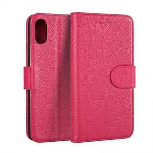 Genuine Leather Wallet Card Holder Flip Stand Case for iPhone X - Rose Red