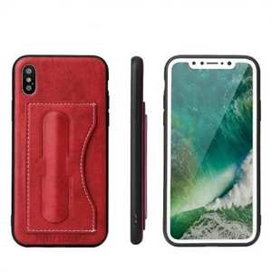 Luxury PU Leather Card Slot Back Case With Kickstand for iPhone X - Red