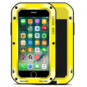 Aluminum Metal Gorilla Glass Shockproof Case for Apple iPhone 8 - Yellow