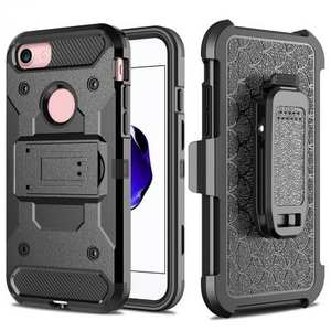Black Belt Clip Holster Shockproof Armor Kickstand Protective Cover Case For iPhone 8 4.7inch