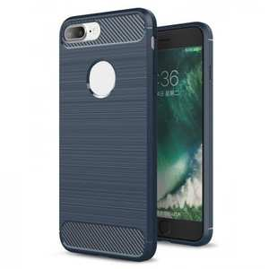 Brushed Metal Texture Soft TPU Silicone Carbon Fiber Protective Cover for iPhone 8 Plus - Navy Blue