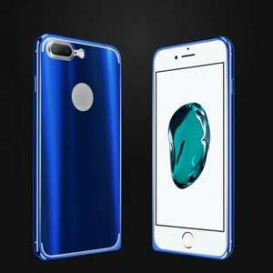 Colorful Acrylic Cover + Metal Aluminum Frame Case For iPhone 8 4.7 inch - Blue
