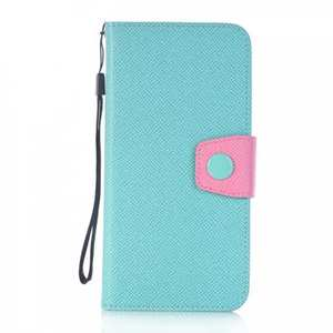 Contrast Color PU Leather Flip Stand Wallet Case for iPhone 8 Plus 5.5 inch - Light Blue