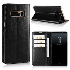 Crazy Horse Genuine Leather Flip Wallet Stand Case for Samsung Galaxy Note 8 - Black