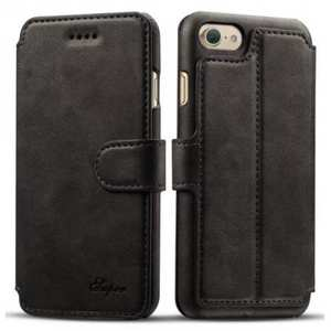 Crazy Horse Leather Flip Wallet Stand Case Cover for iPhone 8 4.7 Inch - Black