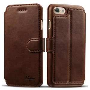 Crazy Horse Leather Flip Wallet Stand Case Cover for iPhone 8 4.7 Inch - Coffee