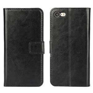 Crazy Horse Magnetic PU Leather Flip Case Inner TPU Cover for iPhone 8 Plus 5.5 inch - Black