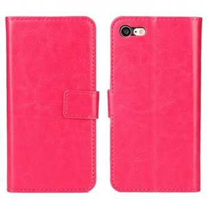 Crazy Horse Magnetic PU Leather Flip Case Inner TPU Frame for iPhone 8 4.7 inch - Rose