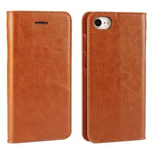 Crazy Horse Real Genuine Leather Wallet Stand Case for iPhone 8 4.7 inch - Brown