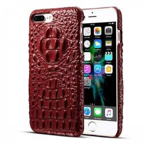 Crocodile Head Pattern Genuine Cowhide Leather Back Cover Case for iPhone 8 Plus 5.5 inch - Red