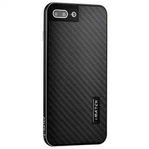 Deluxe Metal Aluminum Frame Carbon Fiber Back Case Cover For iPhone 8 4.7 inch - Black