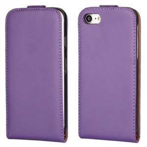 Genuine Leather Vertical Flip Magnetic Phone Case for iPhone 8 Plus 5.5 inch - Purple