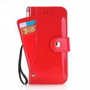 Glossy PU Leather Wallet Stand Case with Multiple Card Slots for iPhone 8 4.7 inch - Red