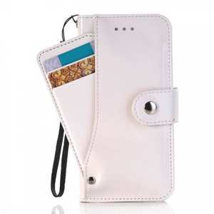Glossy PU Leather Wallet Stand Case with Multiple Card Slots for iPhone 8 4.7 inch - White