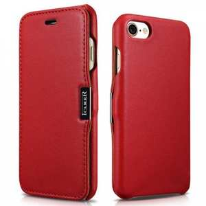 ICARER Luxury Magnet Genuine Leather Side-Open Flip Case For iPhone 8 4.7 inch - Red
