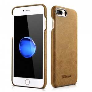 ICARER Metal Warrior Shenzhou Real Leather Back Case Cover for iPhone 8 Plus 5.5 inch - Brown