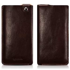 ICARER Vegetable Tanned Leather 5.5inch Straight Leather Pouch for iPhone 8 Plus - Coffee