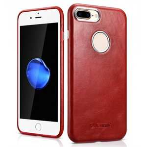 ICARER Vintage Real Genuine Leather Back Case Cover for iPhone 8 Plus 5.5 inch - Red