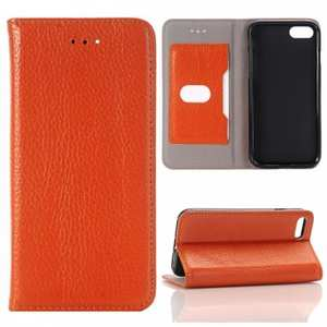 Lichee Pattern Card Slot Flip Stand TPU+Genuine Leather Case for iPhone 8 4.7 inch - Brown