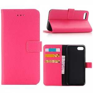 Litchi Grain PU Leather Flip Stand Case Cover with Card Slot for iPhone 8 - Hot Pink