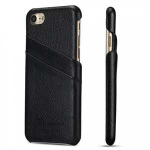 Litchi Skin Real Genuine Leather Back Card Slots Case Cover For iPhone 8 4.7 inch - Black
