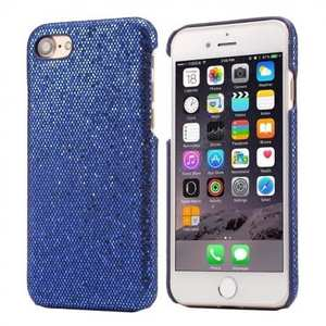 Luxury Bling Leather Coated Hard Cover Protective Case for iPhone 8 4.7inch - Dark blue